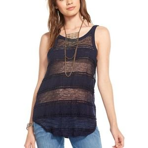 NWT Chaser Navy Lace Deep Back Scoop Tank Medium